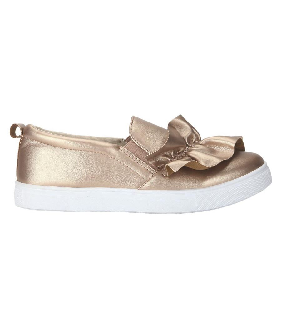 Estatos PU Bronze Coloured Platform Heel Casual  Sneakers