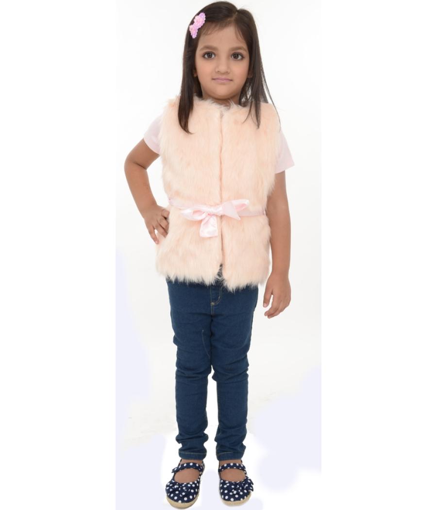 Joy n Fun Light Pink sleeveless Faux Fur Jacket/Vest for Girl