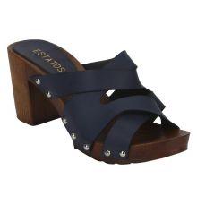 Estatos Navy Blue Multi Strap Open Toe Casual Block Heels