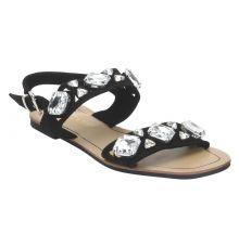 Estatos Suede Black Buckle Closure Twin Strap Open Toe Flat Sandals