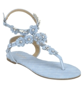 Estatos Blue Open Toe Ankle Strap Buckle Closure Casual Flat Sandals