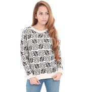 Estance Acrylic Geometric Print Black and white/cream Sweater