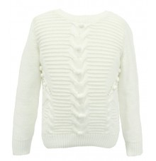 Joy n Fun Cream/White Knitted Sweater for Girl