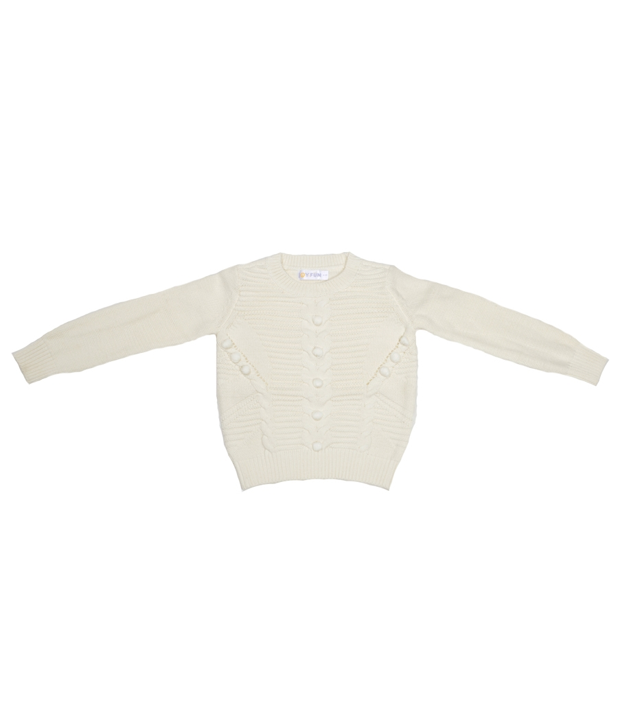 Joy n Fun Cream/White Knitted Sweater for Girl