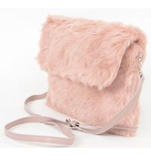 Aliado Faux Fur Peach/Pink Sling/Clutch Bag