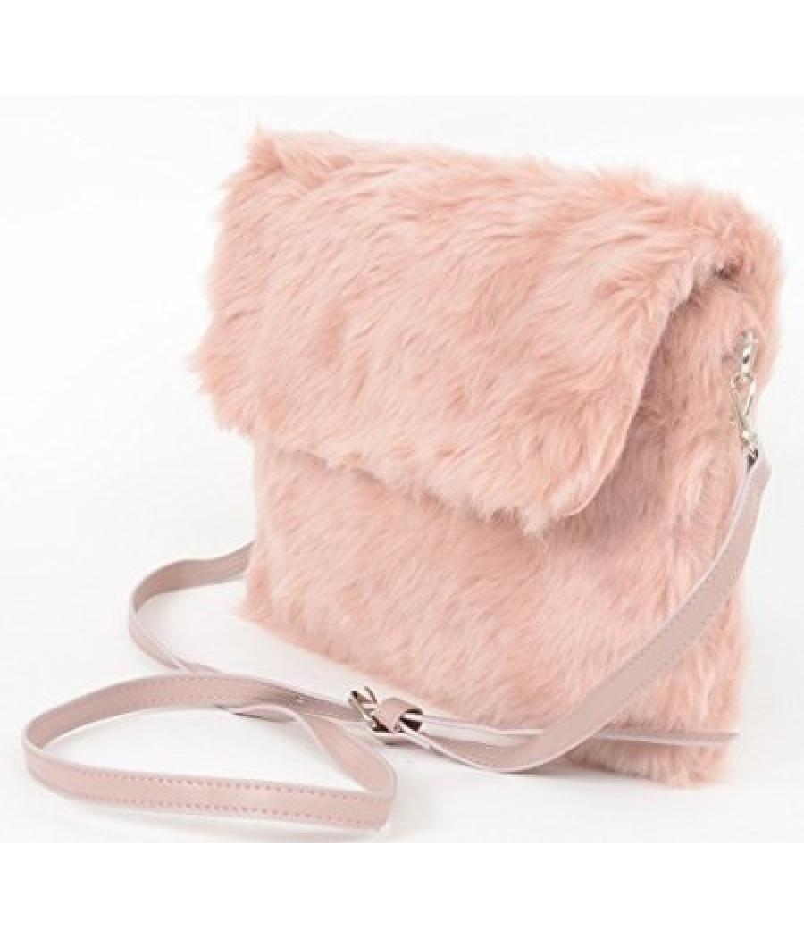 Aliado Faux Fur Peach/Pink Sling/Clutch Bag