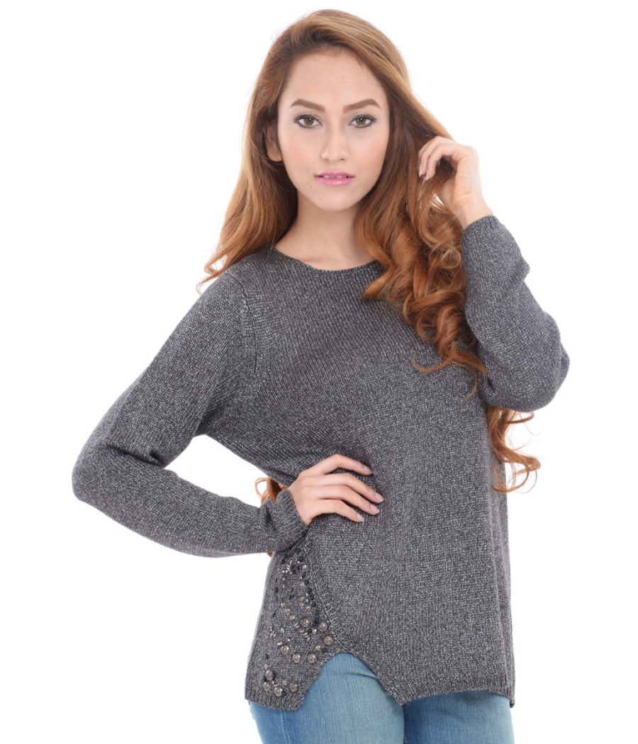 Estance Acrylic Side Slit embroidered Grey Sweater