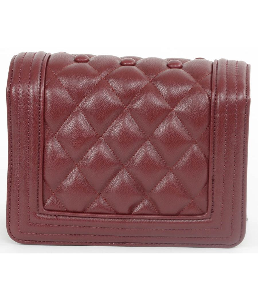 Aliado Synthetic Leather Button Quilted Maroon Sling Bag