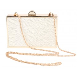 30fb2c2757d8 Aliado artificial snake leather Box Shaped Golden Chain White Clutch
