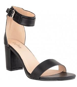 Estatos Matte Leather Ankle Strap Block High Heeled Black Sandals