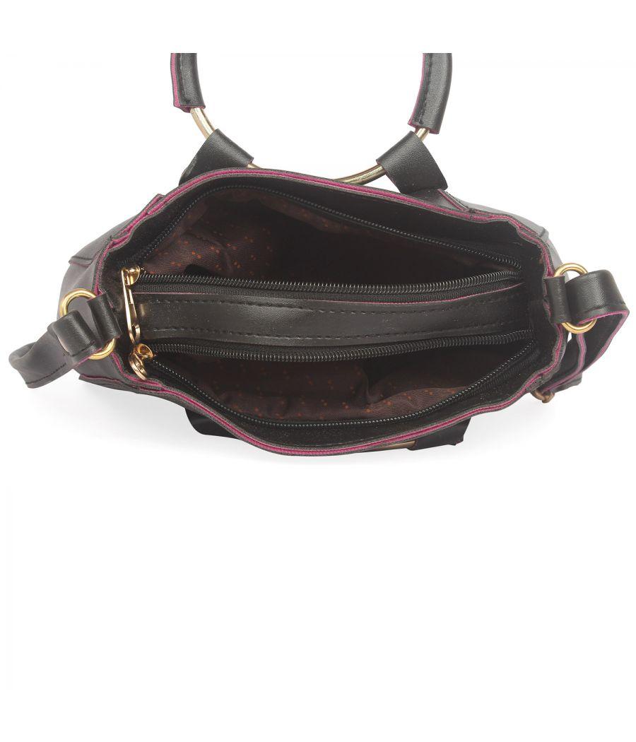 Aliado Black Artificial Leather Zipper Closure Handbag