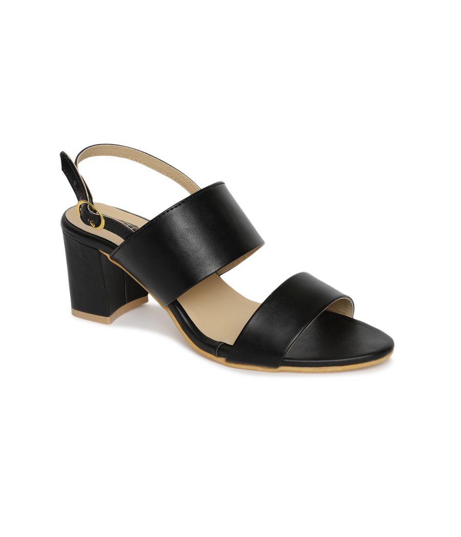 Estatos Black Comfortable Block Heel Buckle Closure Sandals  for Women