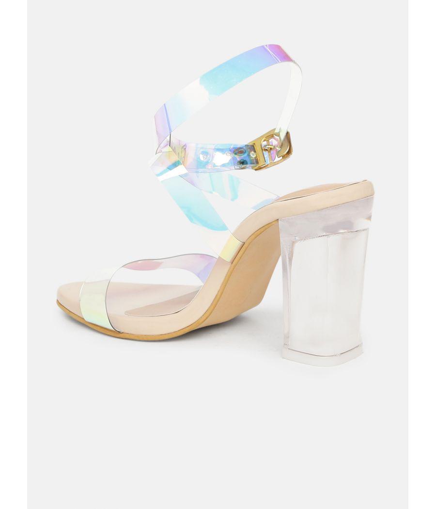 Estatos Leather Single Strap Block High Heeled Rose Sandals