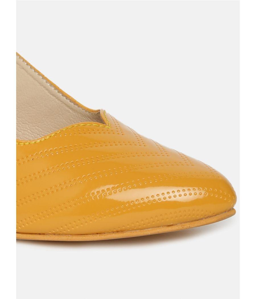 Estatos Ankle Strap Yellow Block Heels  Bellies