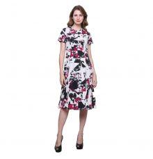 Estance Crepe Abstract Print Multicoloured A-line Dress