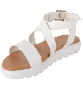 Estatos Faux Leather Open Toe Cross Strap Buckle Closure Mesh Style White Platform Heel Sandals for Women