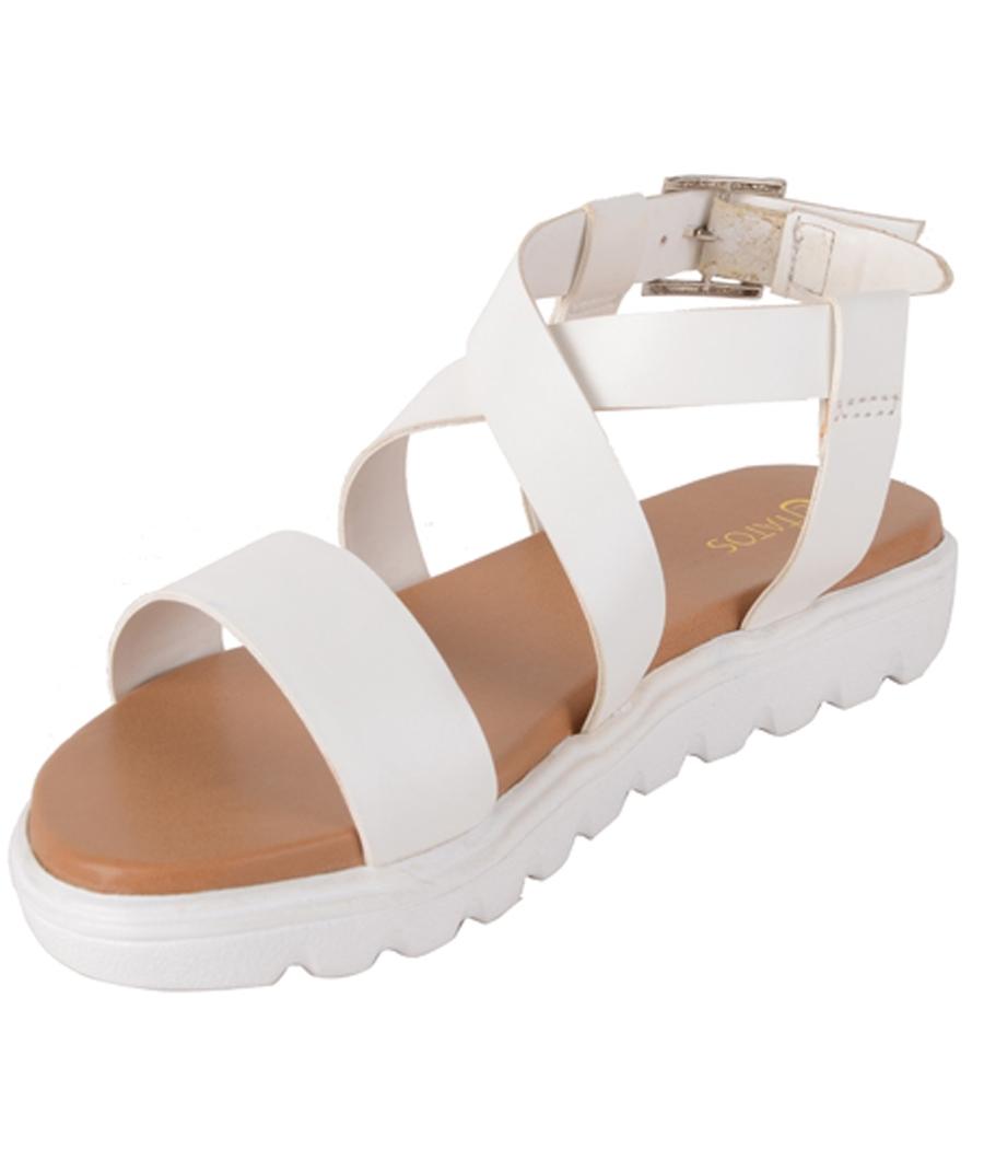 Estatos Faux Leather Open Toe Cross Strap Buckle Closure Mesh Style White Platform Heel Sandals for Women