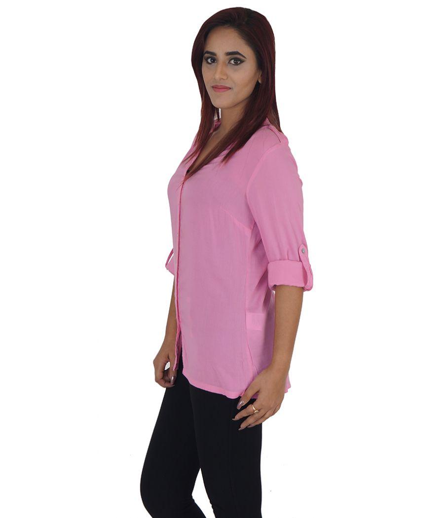 Vero Moda Viscose Solid Pink Coloured Full Sleeved Casual Shirt