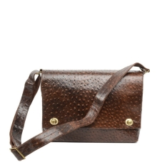 Brown Croc Pattern Messenger Bag