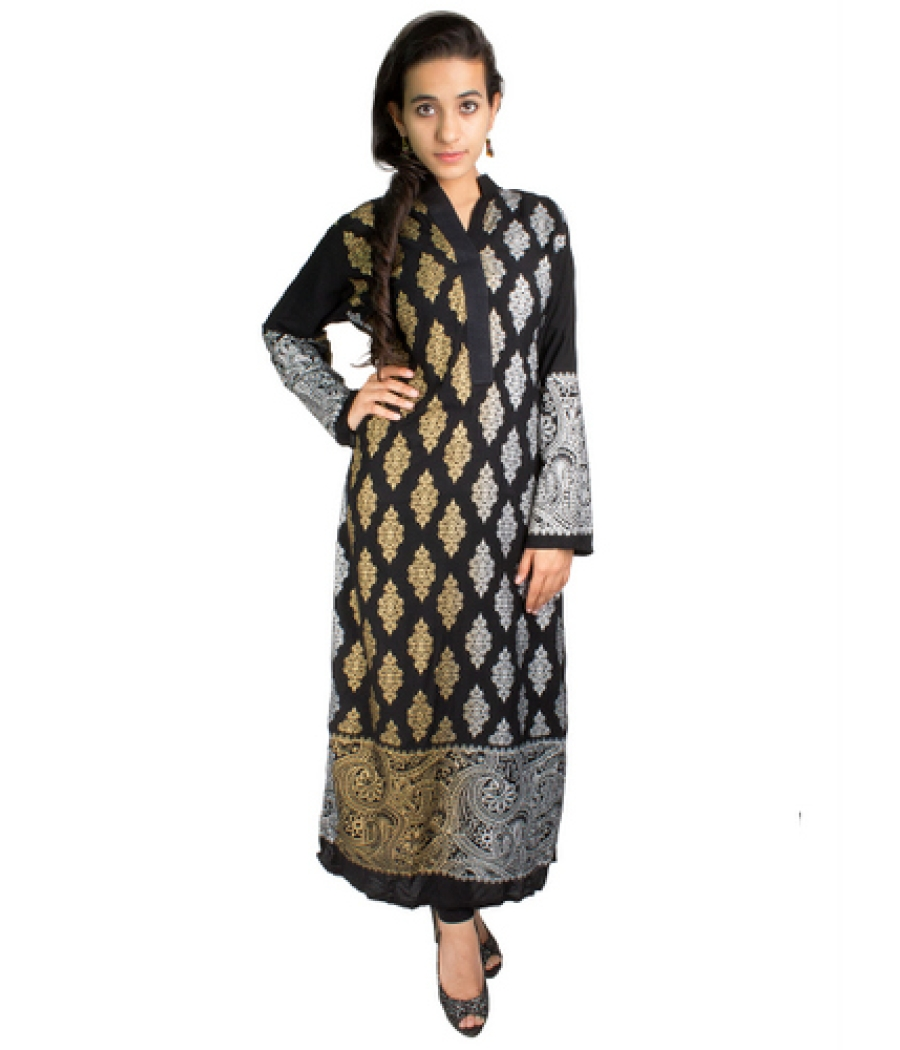 Screen Printed Malai Lawn Black Kurta