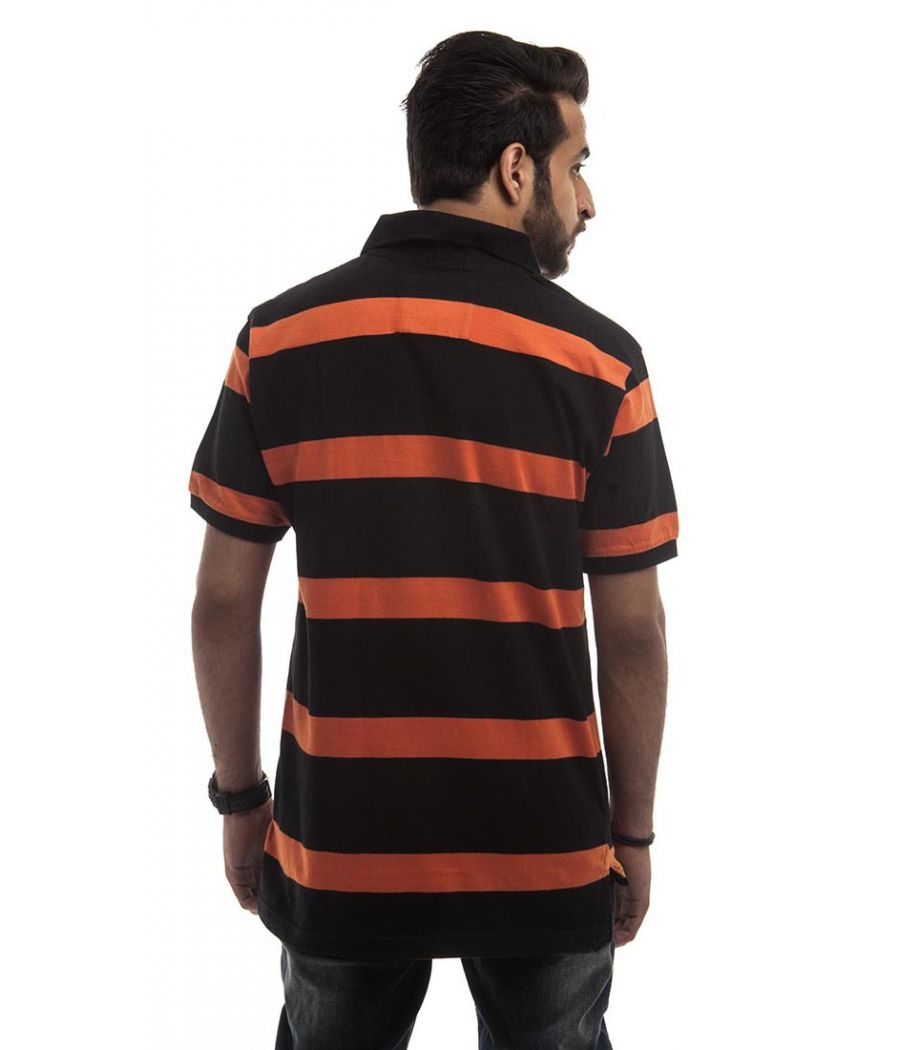 Muscle Polycotton Plain Striped Orange & Black Half Sleeves Casual T-shirt