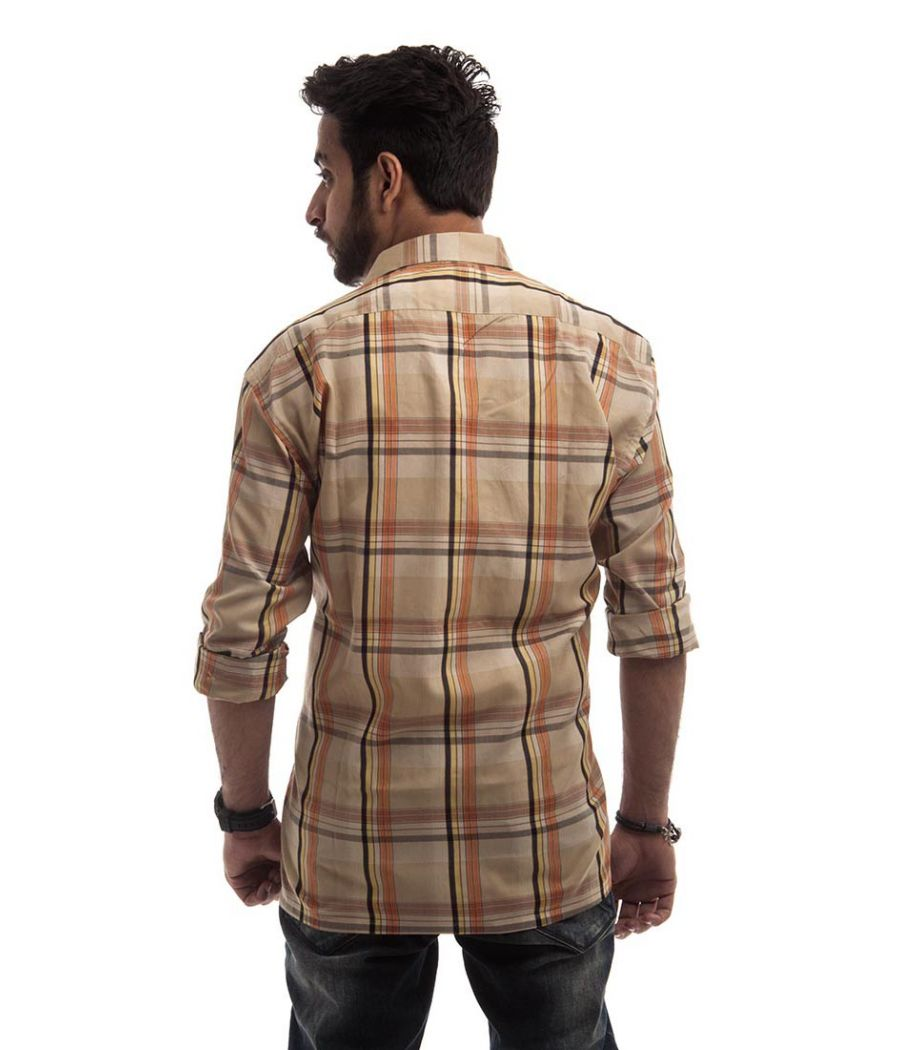 Signor Cotton Plain Checkered Beige & Multi Full Sleeved Casual Shirt