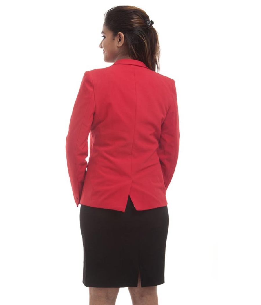 Allen Solly Viscose Solid Red Full Sleeved Waist Length Casual Blazer