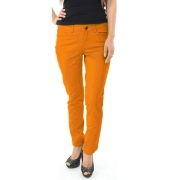 Pieces Cotton Straight Mustard Trousers