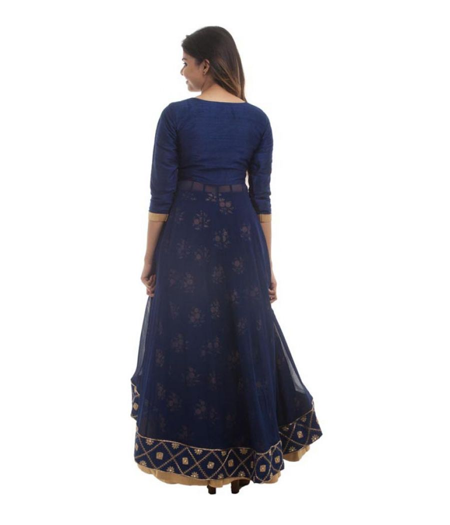 Irayaa Georgette Solid Navy Blue & Bronze Round Neck Lehenga