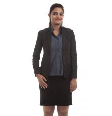 Etashee Certified Cotton Blend Solid Black Waist Length Formal Blazer