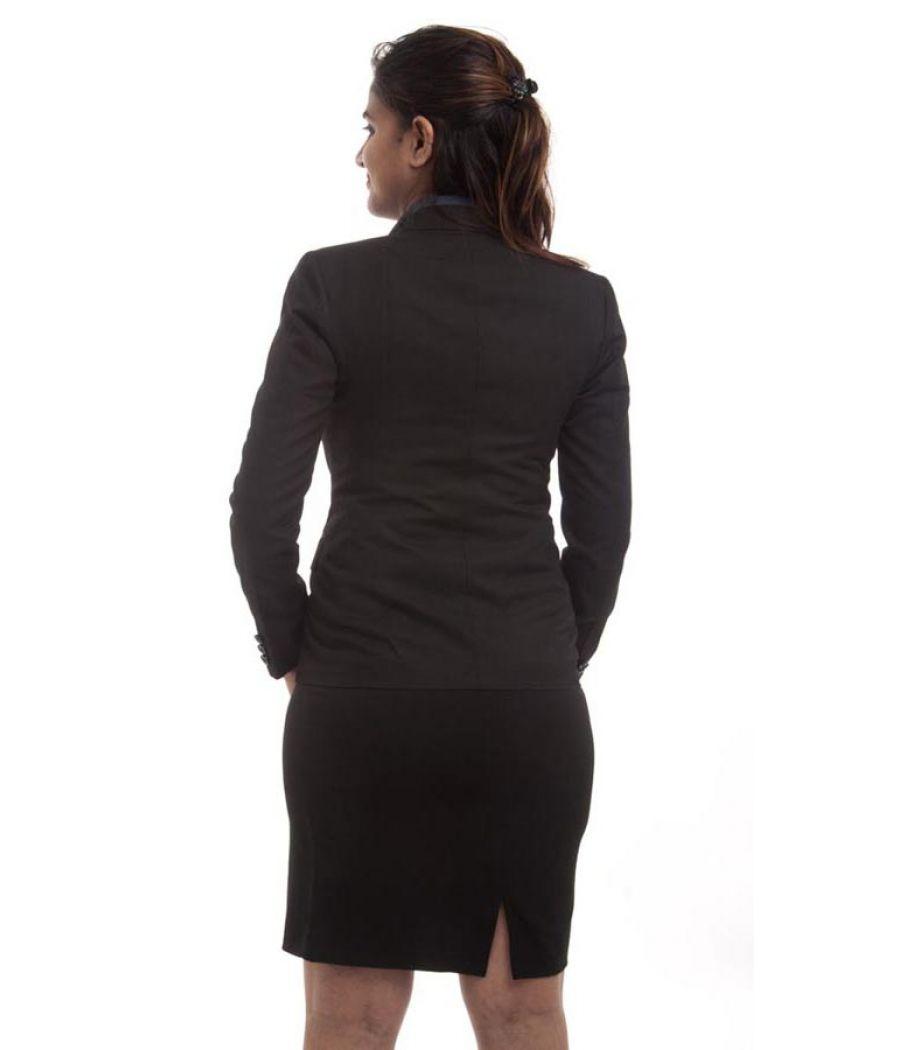 Etashee Certified Cotton Blend Solid Black Waist Length Formal Blazer