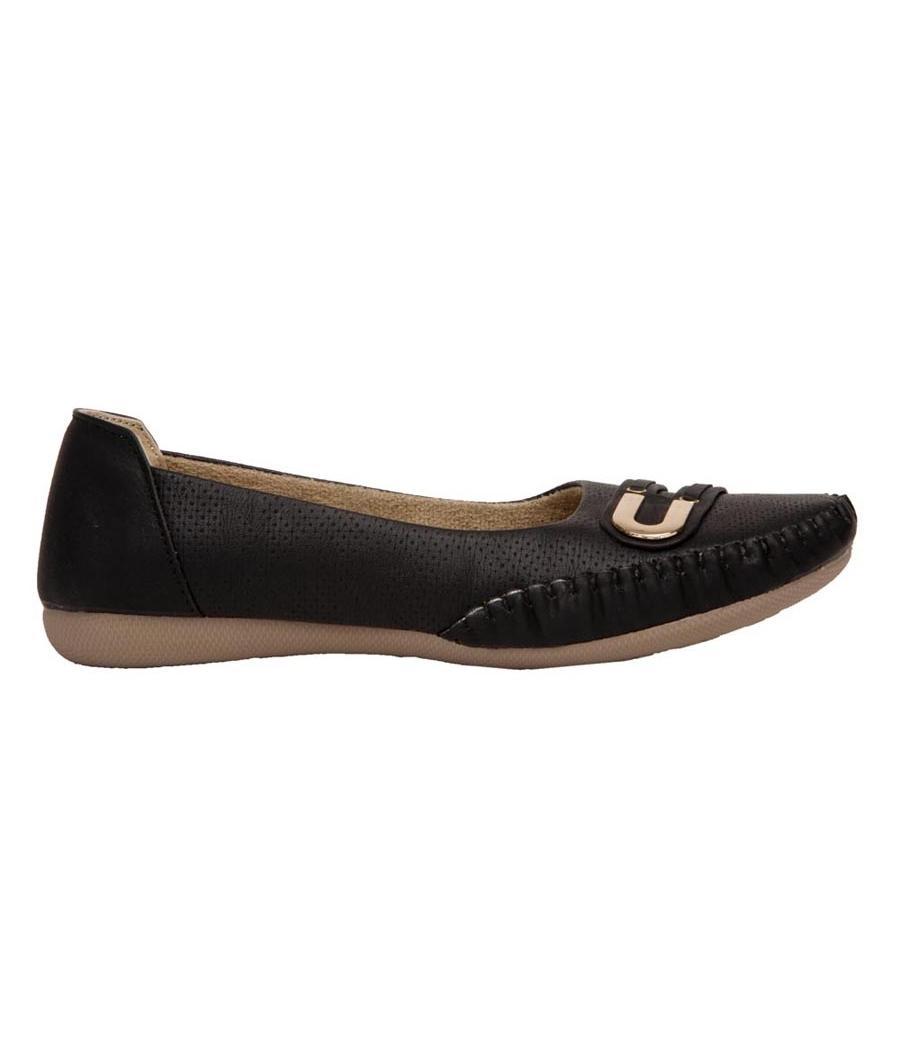 GMF Synthetic Leather Black Broad Toe Flat Heel Casual Bellies