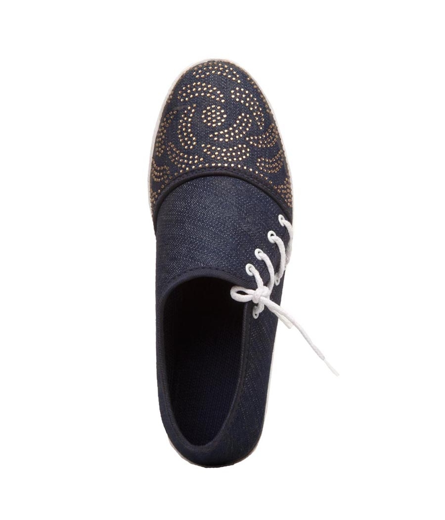 Rudra Collection Denim Navy Blue Flat Casual Sneakers