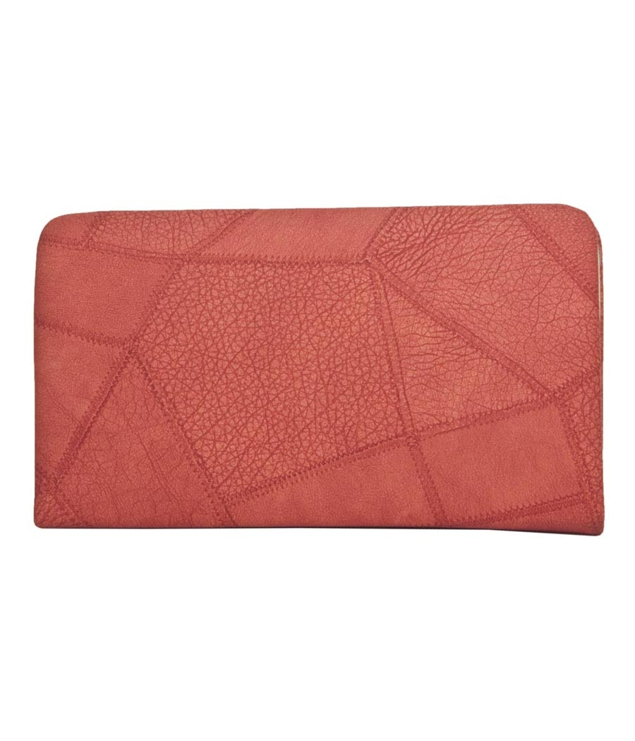 Envie Faux Leather Solid Peach Zipper Closure Minaudiere Style Clutch for Women