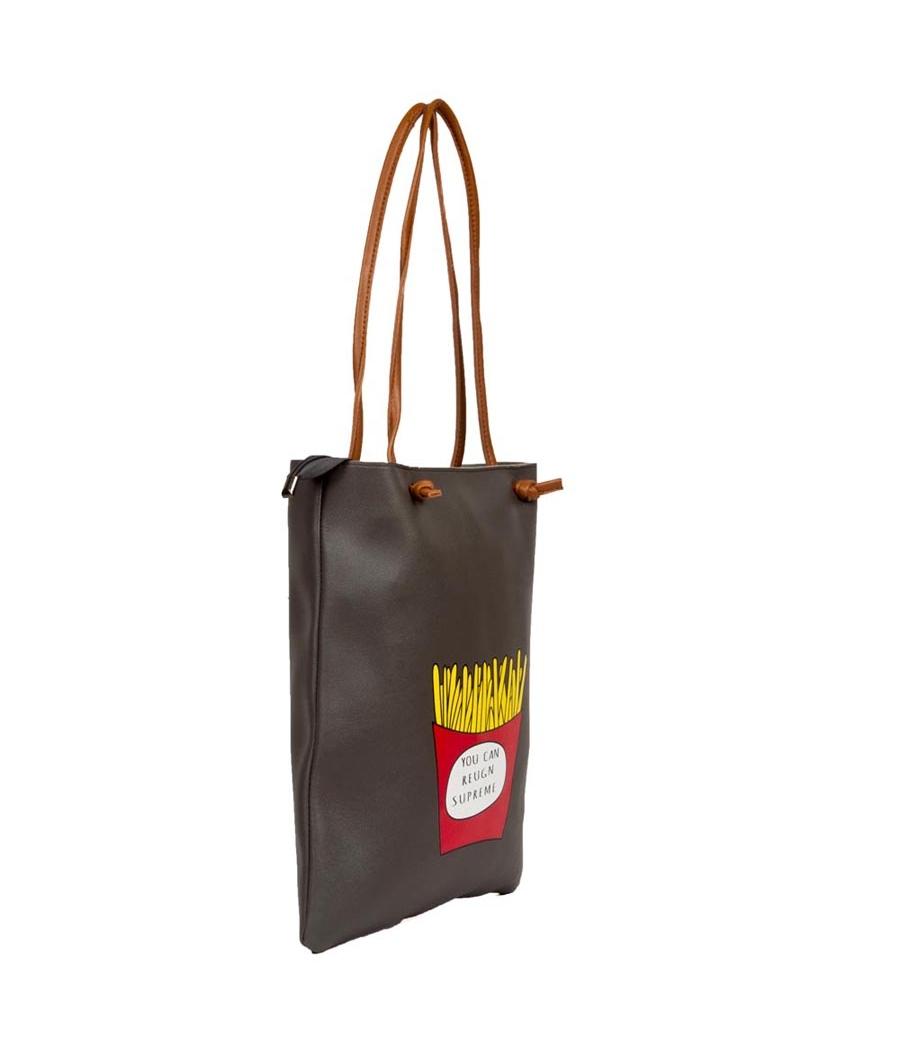 Envie Faux Leather Solid Black Zipper Closure Tote Bag