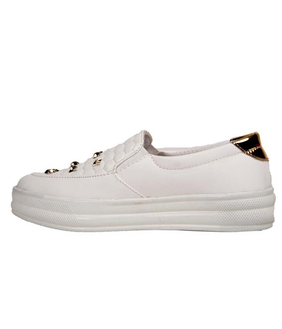 SLN Synthetic Leather White Platform Heel Broad Toe Casual Sneakers