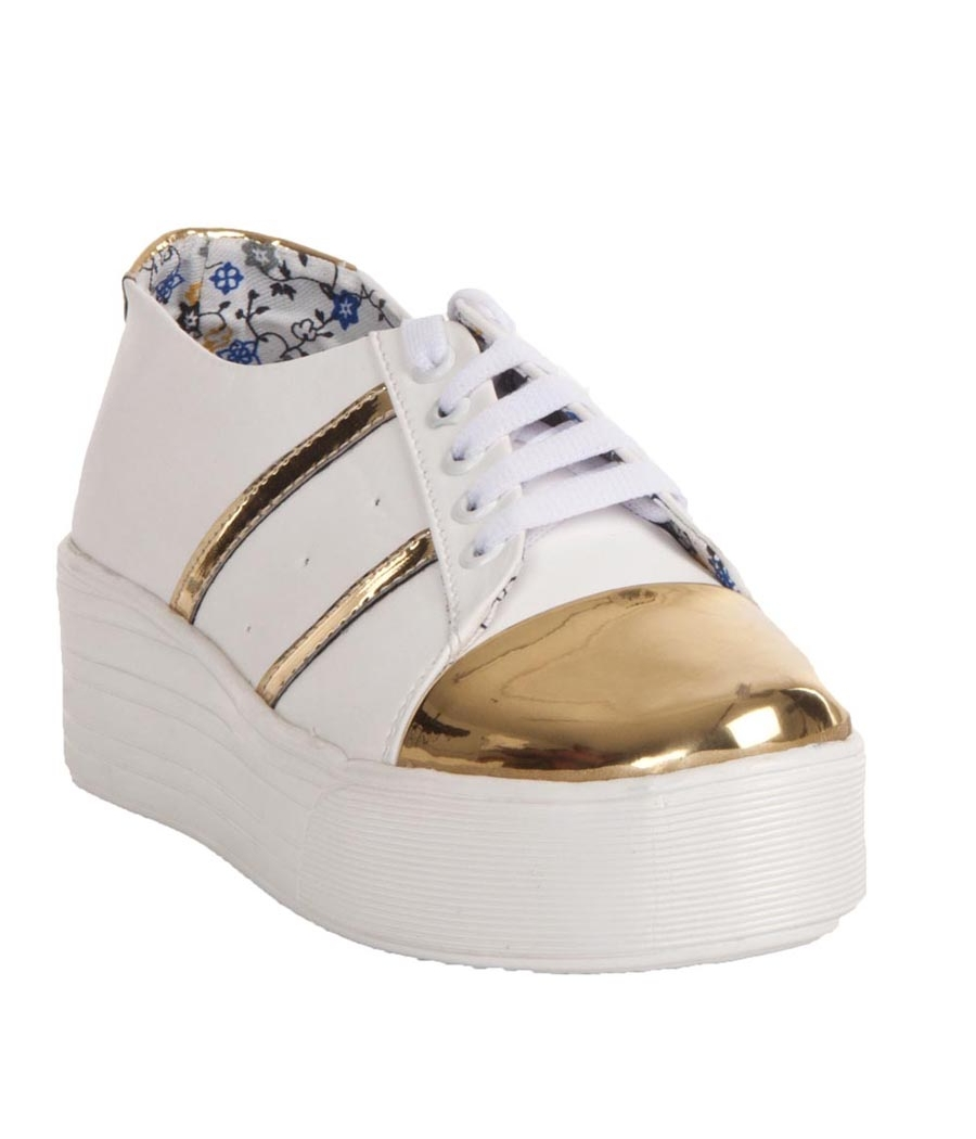 MCS Synthetic Leather White Broad Toe Lace Closure Platform Sneakers