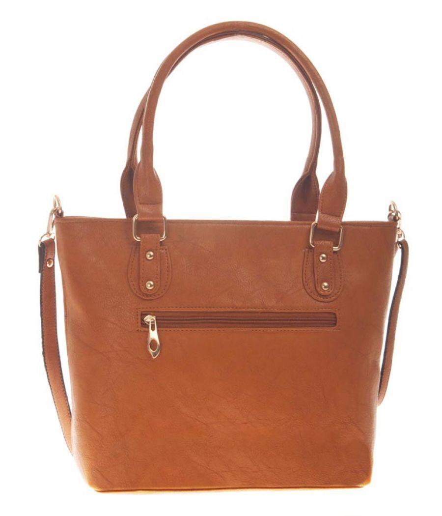 Aliado Faux Leather Solid Brown Zipper Closure Handbag