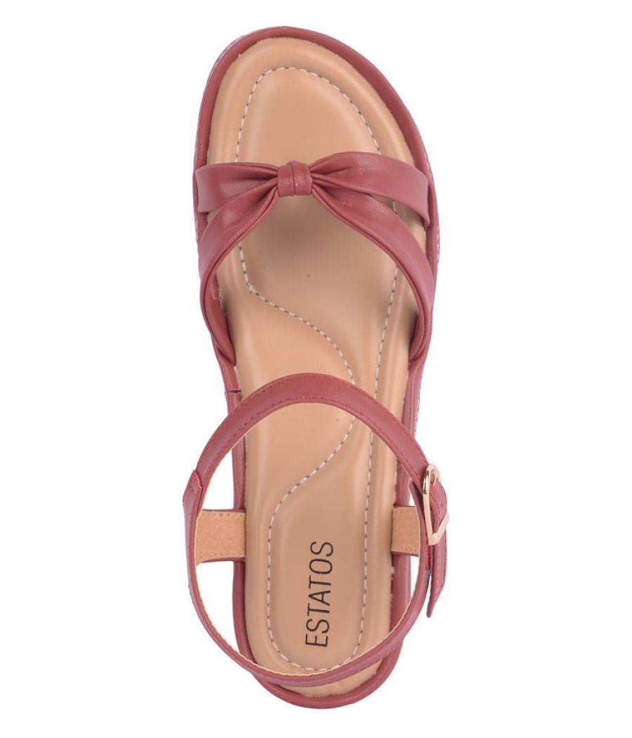 Estatos Maroon  Buckle Closure Open Toe Casual Sandals