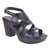 Estatos Synthetic               Leather Twin  Strap Block High Heeled Black Sandals