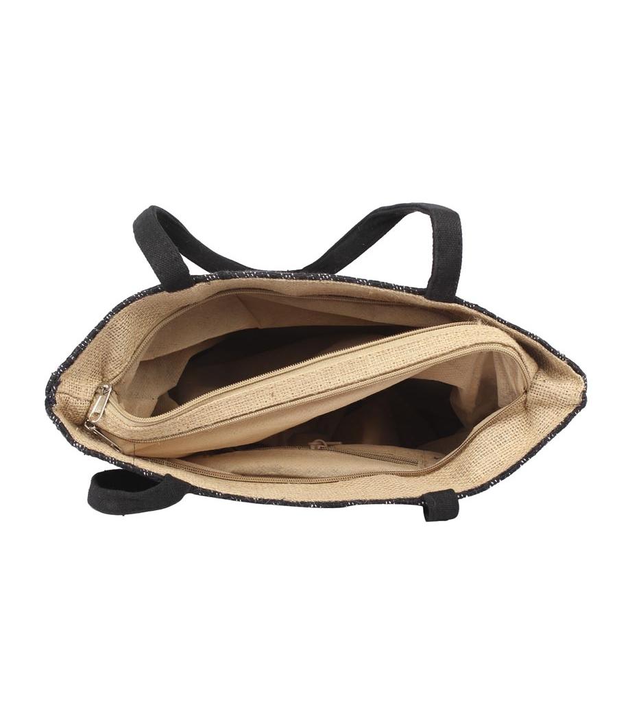 Aliado Jute Black  Coloured Zipper Closure Handbag