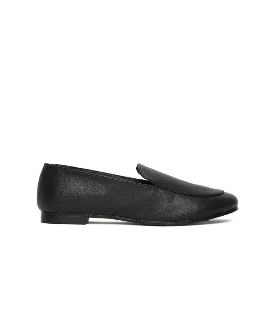 Estatos Broad Toe Black Comfortable Flat Slip On Loafers for Women