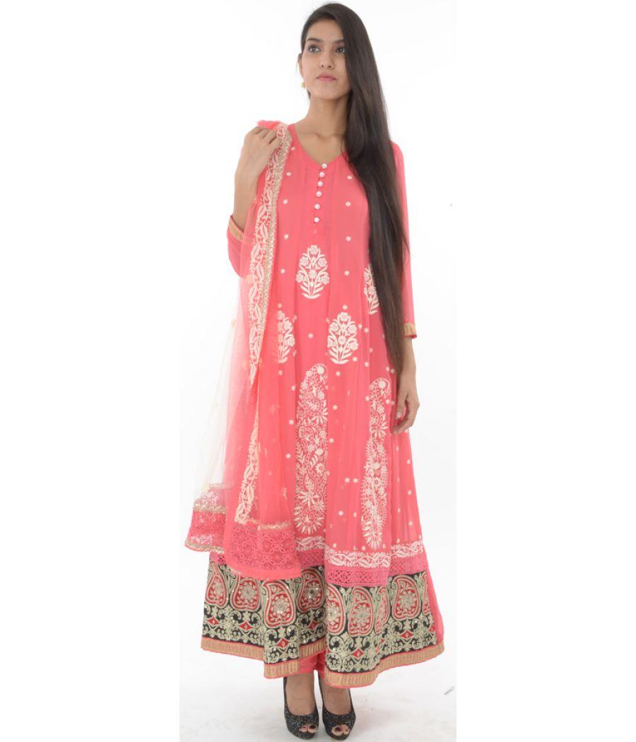 Etashee Certified Pink Georgette Flared Suit