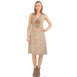 Paisley Printed Light Brown Dress