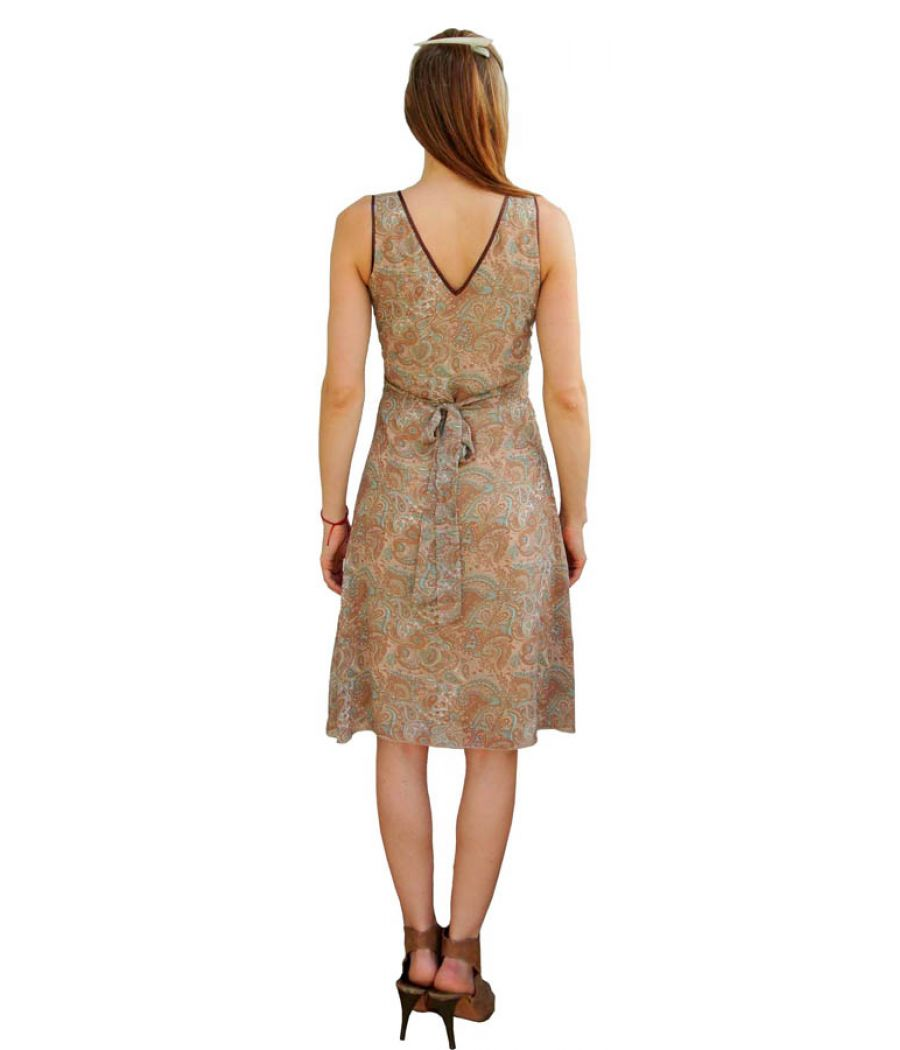 Paisley Printed Light Brown Dress