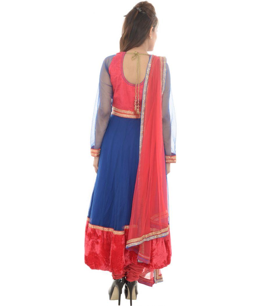 Net/Velvet Embroidered Blue/Red Anarkali Suit