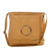 Envie Faux Leather Solid Yellow Magnetic Snap Crossbody Bag