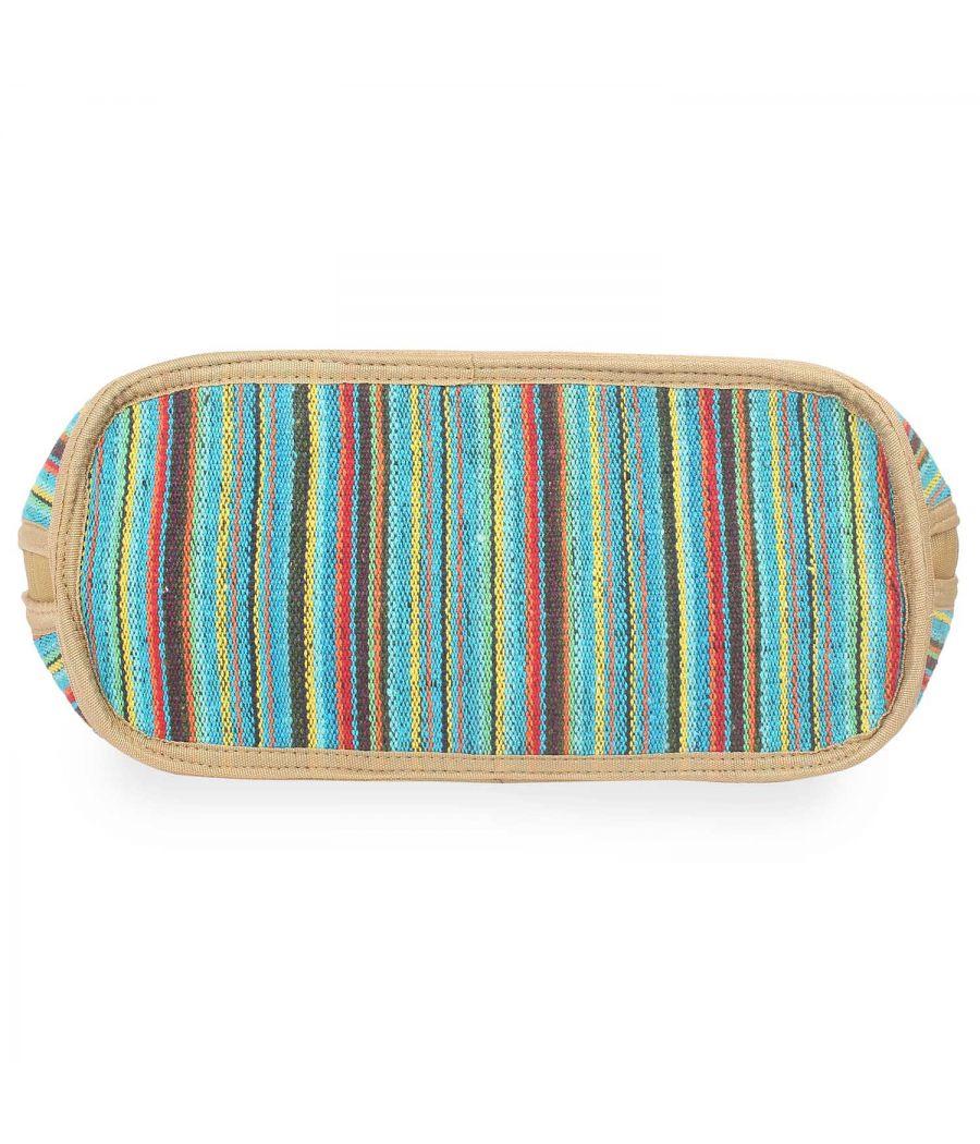 Aliado Textile Multi Color Zipper Closure Handcrafted Handbag