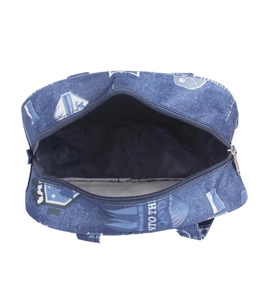 Aliado Cloth/Textile/Fabric Printed Blue Zipper Closure Handbag