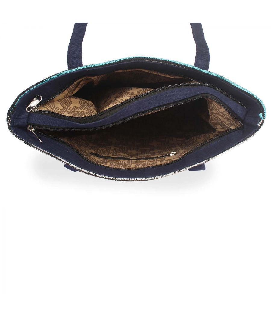 Aliado Polyester Multicolor Zipper Closure Handcrafted Casual Handbag